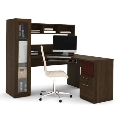 Bestar Jazz Corner Computer Desk with Hutch & Cabinet