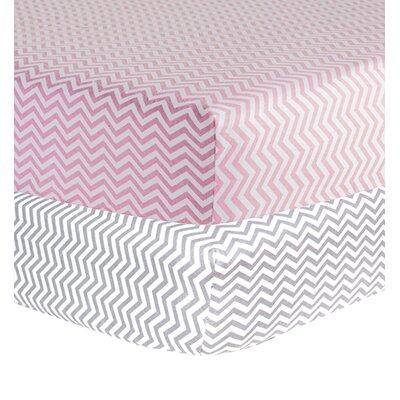 Chevron Print Flannel 2 Piece Crib Sheet Set by Trend Lab