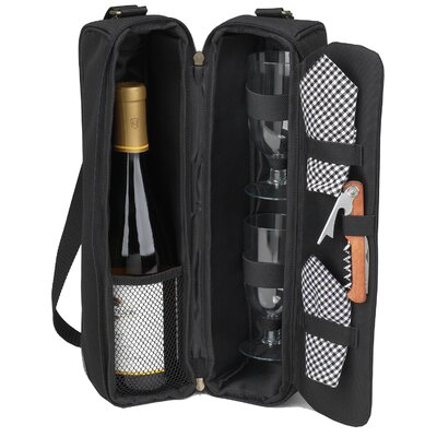 Picnic At Ascot Classic Sunset Depinot Wine Carrier for Two in Black