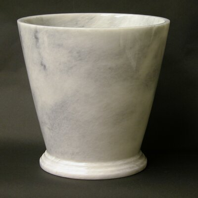 Waste Basket in White Marble by Nature Home Decor