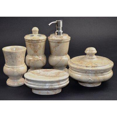 Nature home decor mediterranean 5 piece sahara beige for Beige bathroom accessories set