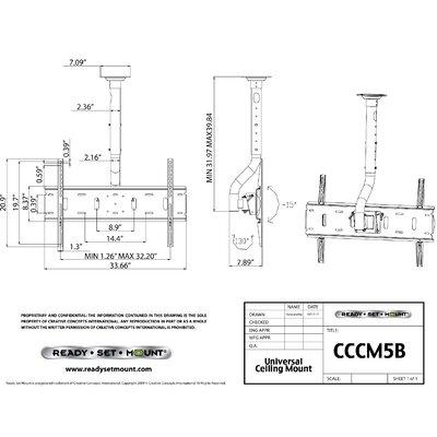 """Ready Set Mount Tilt/Swivel Ceiling Mount for 37"""" - 60"""" LCD/Plasma"""