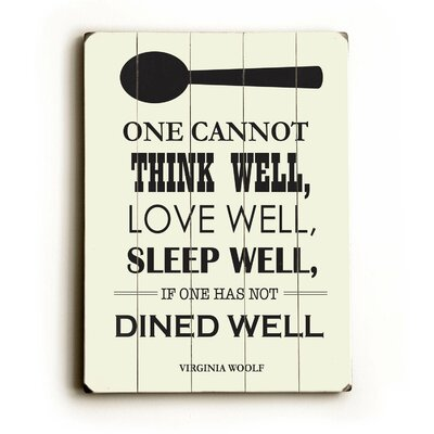 Dine Well Wood Sign by Artehouse LLC