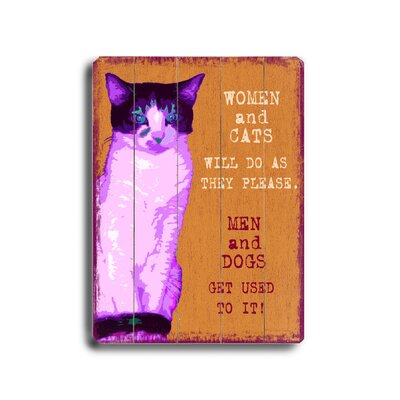 Artehouse LLC Women and Cats Planked Textual Art Plaque