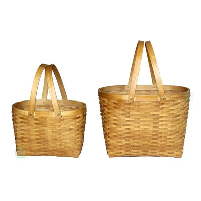 2 Piece Oval Wood Chip Shopping Baskets Set by Quickway Imports