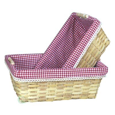 Gingham 2 Piece Lined Baskets Set by Quickway Imports