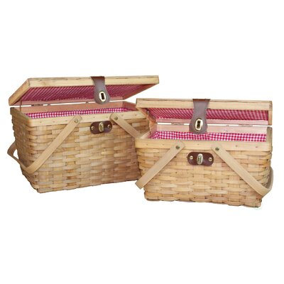 Gingham 2 Piece Lined Wood Picnic Baskets Set by Quickway Imports