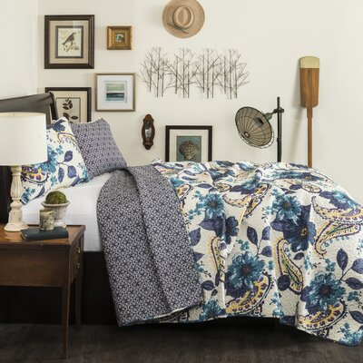 Floral 3 Piece Quilt Set in Blue by Lush Decor