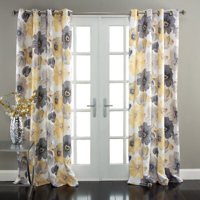 Leah Window Curtain Panel in Gray & Yellow (Set of 2) Product Photo