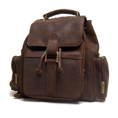 Distressed Leather Multi Pocket Backpack by Le Donne Leather