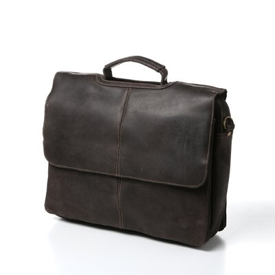 Laptop Distressed Leather Briefcase by Le Donne Leather