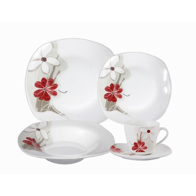 Porcelain 20 Piece Square Dinnerware Set by Lorren Home Trends