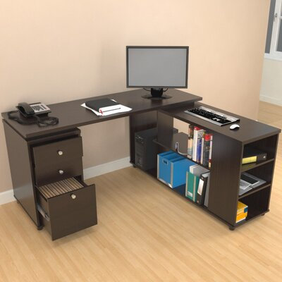 Inval Computer Desk with Shelves