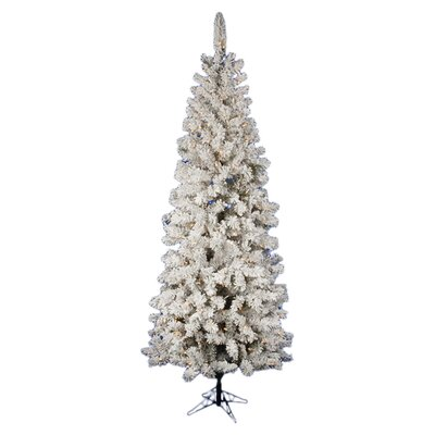 Vickerman Co. Pacific Pine 7.5' White Artificial Pencil Christmas Tree with 270 LED Lights