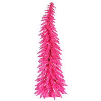 Colorful 4' Pink Artificial Christmas Tree with 70 Single Colored Lights by Vickerman