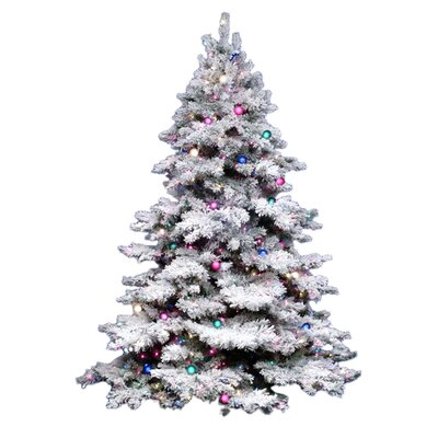 Vickerman Flocked Alaskan 7 5 White Artificial Christmas