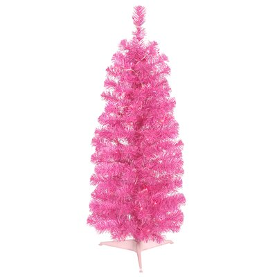 2' Sparkling Pink Pencil Artificial Christmas Tree with Pink Lights by Vickerman