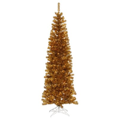 7.5' Antique Gold Artificial Tinsel Pencil Christmas Tree with Clear Lights by Vickerman