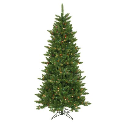 Vickerman Co. Camdon Fir 6.5' Green Artificial Slim Christmas Tree with 550 Multicolored Lights with Stand