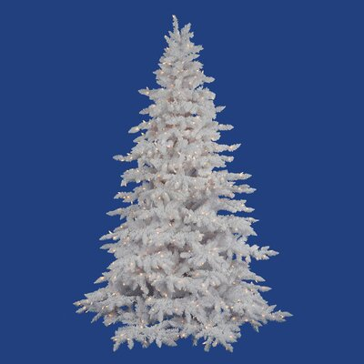Vickerman Co. Flocked White Spruce 7.5' Artificial Christmas Tree with 650 LED Warm White Lights with Stand
