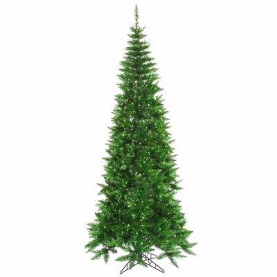 Vickerman Co. 7.5' Tinsel Green Slim Fir Artificial Christmas Tree with 500 Mini Lights