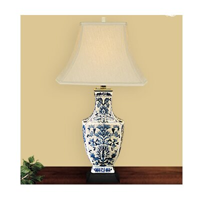JB Hirsch Home Decor Dynasty Quad Vase Crackled Table Lamp with Bell Shade