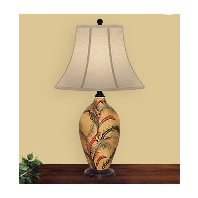 """JB Hirsch Home Decor Ribbon Feather 28"""" H Table Lamp with Bell Shade"""