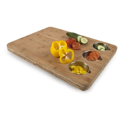 Core Bamboo Pro Chef Butchers Chop Block with Prep Bowls in Natural