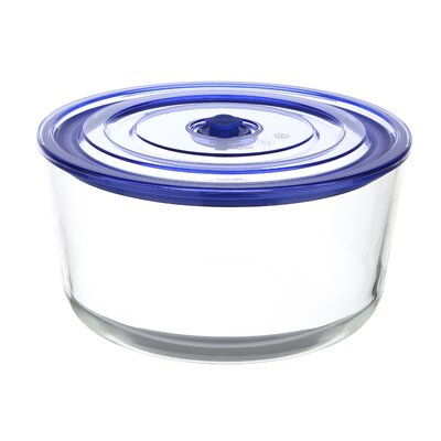GoGreen Glasslock Premier103 oz. Round Oven Safe Glass Food Storage Container with Vacuum Seal ...