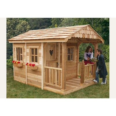 Sunflower Playhouse with 3 Functional Window and Cedar Deck Porch Product Photo