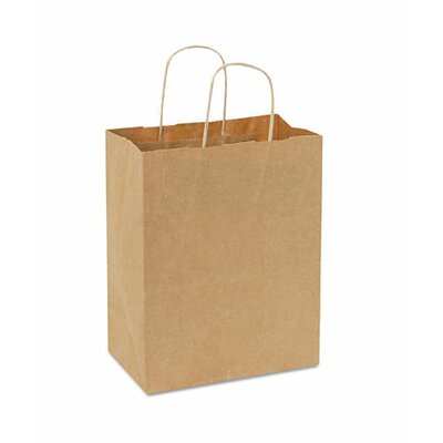 """BAGCO™ 10.25"""" x 8"""" x 4.5"""" Handled Shopping Bags in Natural"""