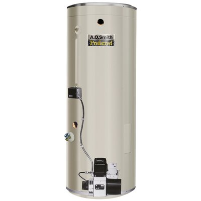 A.O. Smith COF-199S Commercial Tank Type Water Heater Oil Fired 86 Gal Lime Tamer 199,000 BTU Input