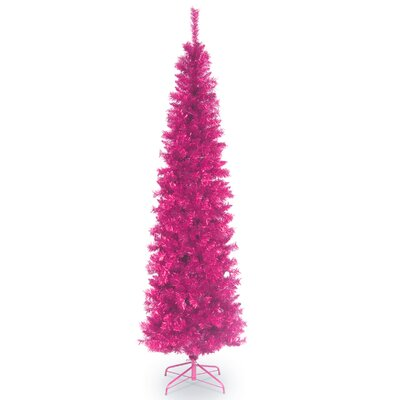 6' Pink Tinsel Wrapped Artificial Christmas Tree with Metal Stand by National Tree Co.