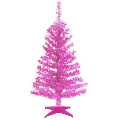Tinsel Trees 3' Pink Tinsel Artificial Christmas Tree with Plastic Stand by National Tree Co. ...