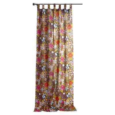 Karma Living Bohemian Bouquet Cotton Tab Top Window Single Curtain Panel
