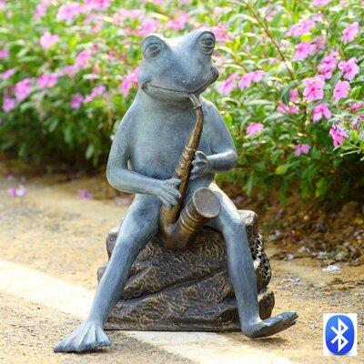 SPI Home Frog Bluesman with Bluetooth Speaker Garden Sculpture