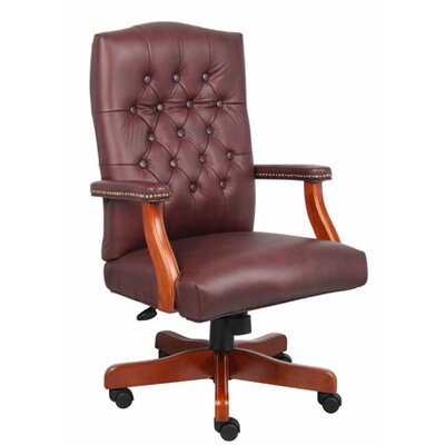 Boss Office Products Traditional Adjustable High-Back Leather Office Chair