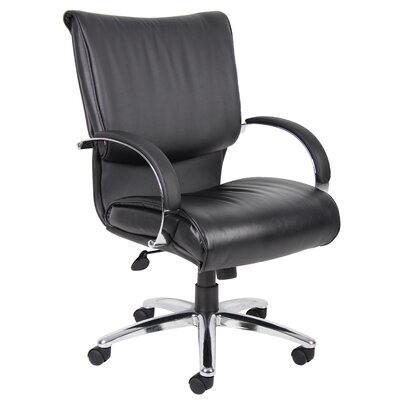 Boss Office Products Mid-Back Leather Conference Chair with Arms