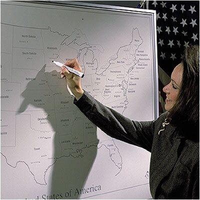 Best-Rite® Porcelain Lifetime World Map Graphic/Grid Wall Mounted Whiteboard, 4' x 4'