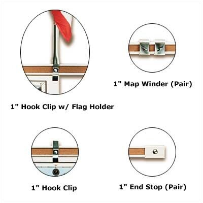 """Best-Rite® 1"""" Accessories for Map Rail"""