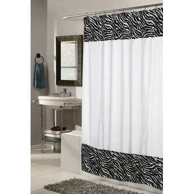 Carnation Home Fashions Animal Instincts Serengeti Faux Fur Trimmed Shower Curtain