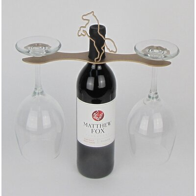 Laser Cut Steel Stall 1 Bottle Tabletop Wine Glass Rack by Metrotex Designs