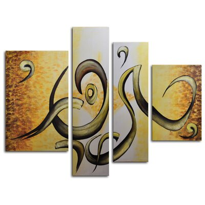 My Art Outlet Dancing Peel 4 Piece Original Painting on Canvas Set