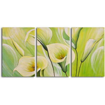 My Art Outlet Whispering Lilies 3 Piece Original Painting on Wrapped Canvas Set
