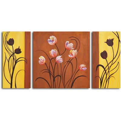 My Art Outlet Deco Tulips 3 Piece Original Painting on Wrapped Canvas Set
