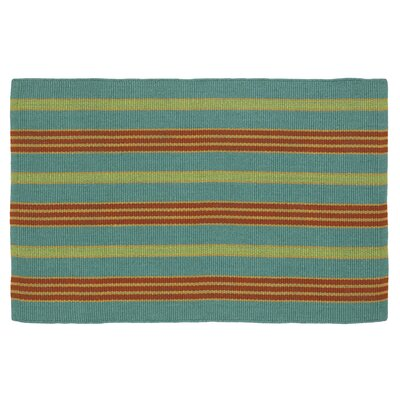 Fiesta Teal Striped Indoor/Outdoor Area Rug by Company C