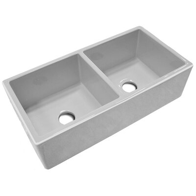 "37"" x 18.13"" Double Bowl Thick Fireclay Farmhouse Kitchen Sink Product Photo"