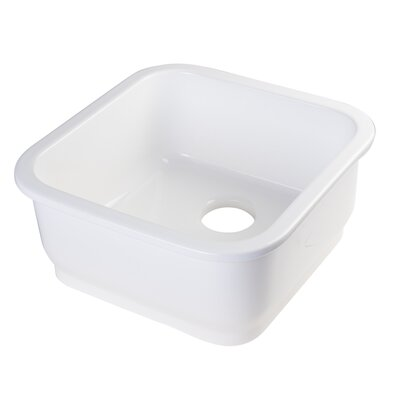 "18.125"" x 18.125"" Square Undermount Fireclay Bar Sink Product Photo"