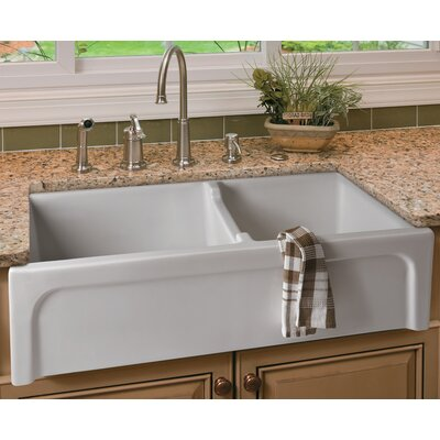 """36"""" x 18"""" Arched Apron Thick Wall Fireclay Double Bowl Farmhosue Kitchen Sink Product Photo"""