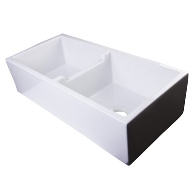 "39.5"" x 18"" Smooth Thick Wall Fireclay Double Bowl Farmhouse Kitchen Sink Product Photo"